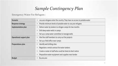 contingency action plan in disaster managment