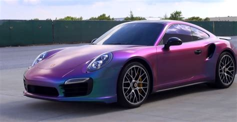 purple porsche 911 turbo new porsche 911 turbo s gets sprayed in chameleon plasti