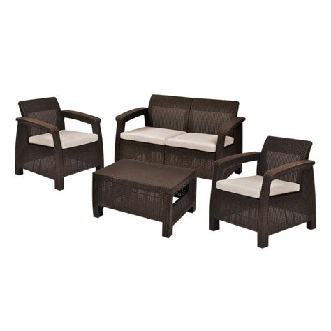 home design products keter keter corfu brown 4 piece all weather resin patio seating