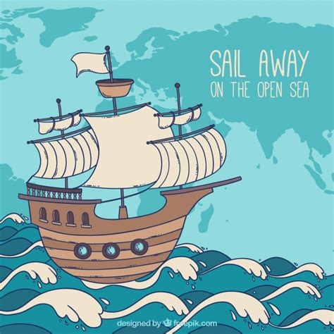 cartoon boat waves hand drawn boat background with waves vector free download