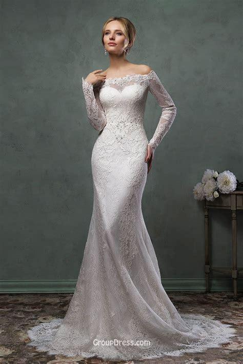 Destination Mermaid Off the shoulder Lace Long Sleeves Wedding Dress   GroupDress.com