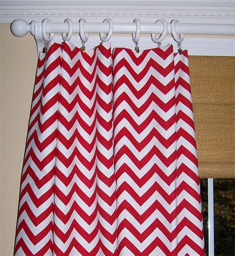Red White Chevron Curtains Premier By Cathyscustompillows