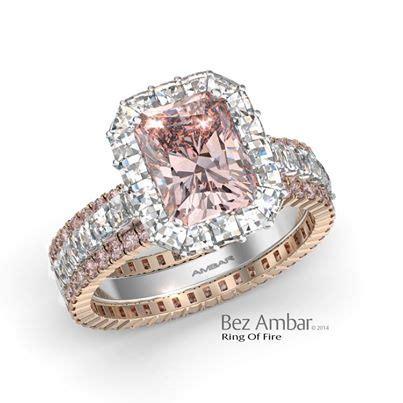 halo diamond engagement ring set radiant pink diamond