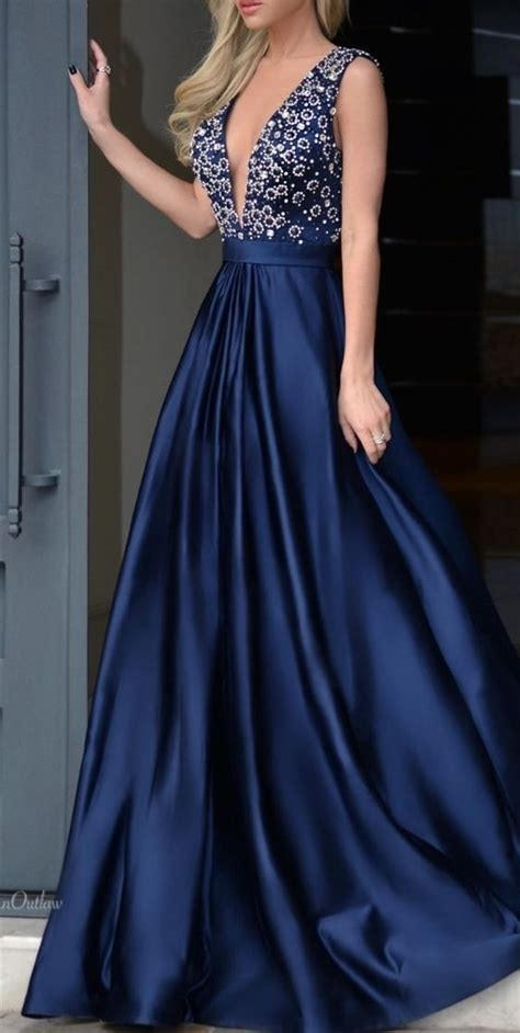 sexy deep  neckline navy blue prom dress