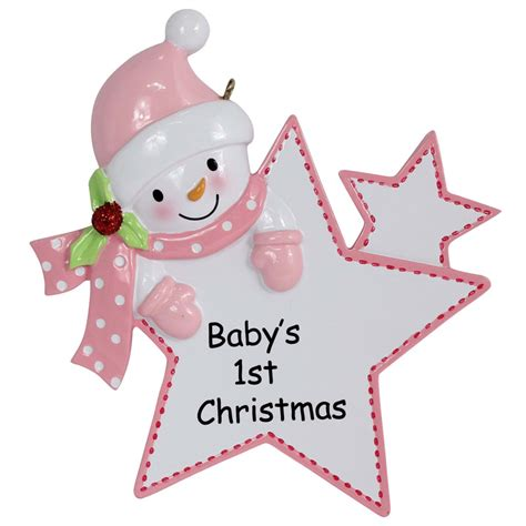 pink girl star resin baby first christmas ornaments