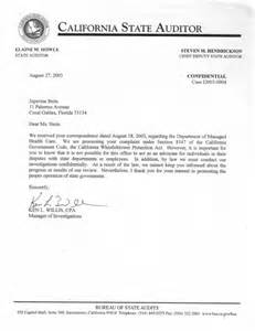 Audit Service Request Letter Letter From The California State Auditor Regarding The California Whistleblowers