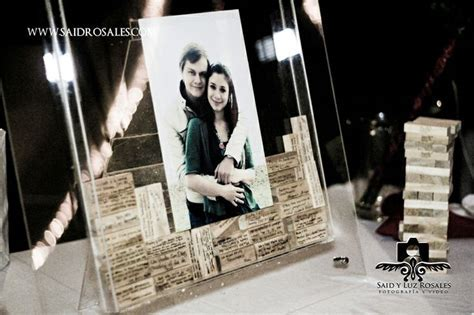 Jenga picture frame, for our guests to write their best
