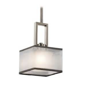 Square Pendant Light Kichler Lighting Kailey Brushed Nickel Mini Pendant Light With Square Shade 43442ni