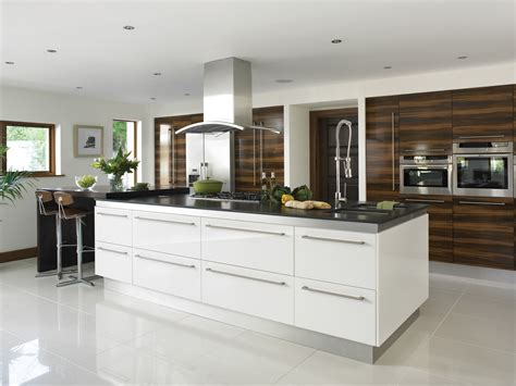 contemporary island kitchen gloss white kitchens hallmark kitchen designs