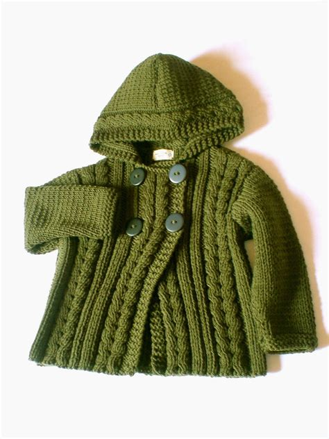 etsy pilland pattern hand knit wool hooded jacket cardigan for boy or girl in
