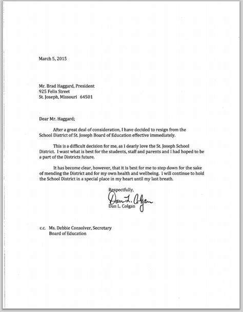 letter of resignation from board resignation letter format best letter of resignation from