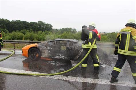 Lamborghini On Autobahn Lamborghini Aventador Burns To A Crisp On German Autobahn