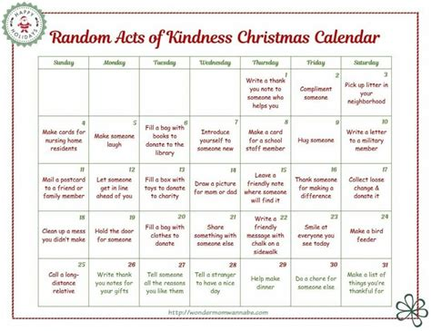 printable acts of kindness advent calendar random acts of christmas kindness printable advent