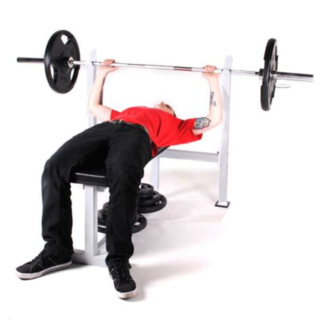 chest press on bench commercial duty olympic flat barbell weight lifting chest