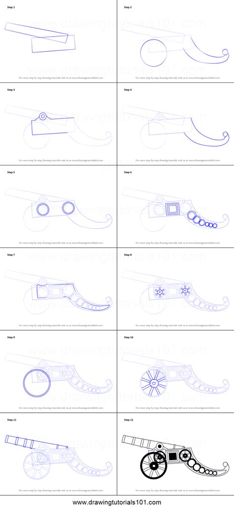 how to a step by step how to draw a vintage cannon printable step by step drawing sheet