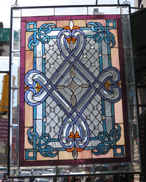 Stained Glass L Parts by Stained Glass Window Geometric Floral Design Ebay