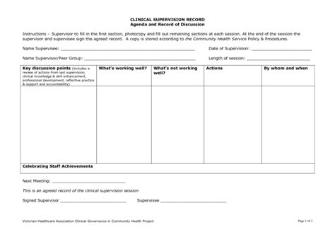 Supervision Agenda Template 1   Best Agenda Templates