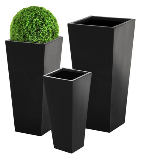 Black Planters by Flared Square Polystone Black Planter Large H1m X