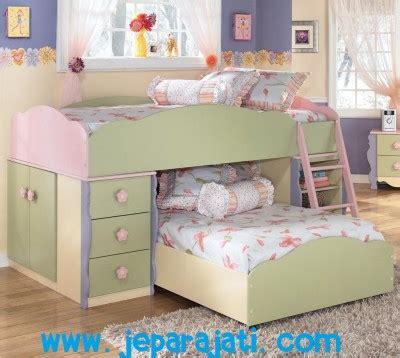 Dipan Anak Jati Jepara tempat tidur anak tingkat bunga pink jepara jati