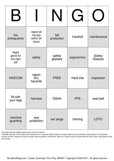 safety bingo template safety bingo cards to print and customize