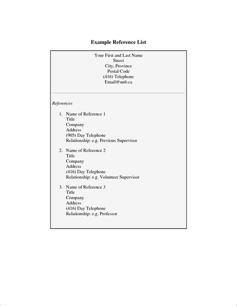 sle of resume references format resume references page
