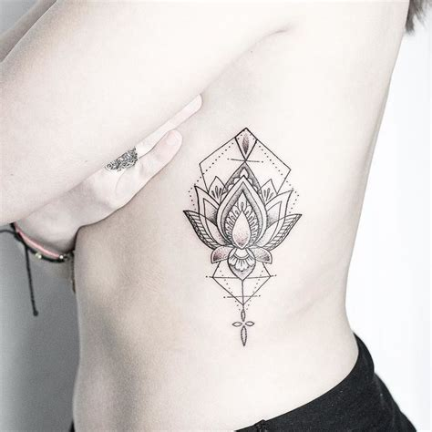 lotus mandala tattoo ribs geometric lotus on the ribs for leah thank you made at my