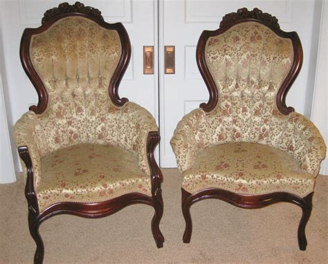 Vintage victorian king and queen chairs