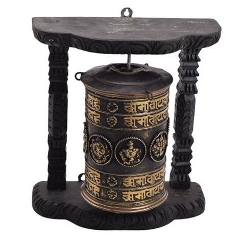 devotional hand held copper work prayer wheel by vyom shop