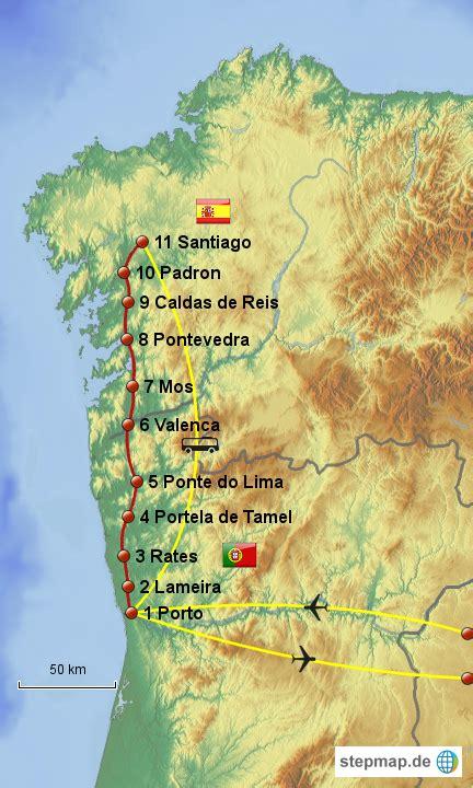 camino portuguã s lisbon porto santiago central and coastal routes books camino portugues sabine78 landkarte f 252 r portugal