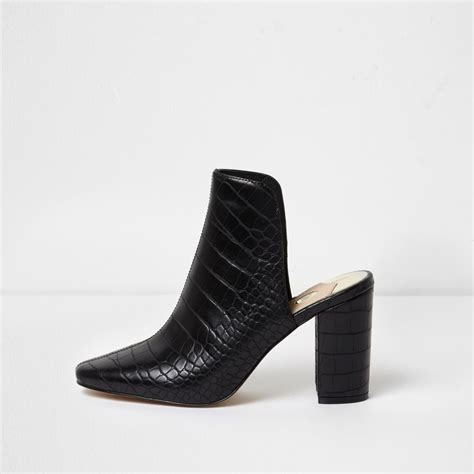 Block Heel Mules black croc block heel mules shoes boots sale