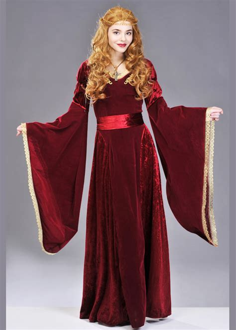 Womens Deluxe Red Medieval Queen Costume