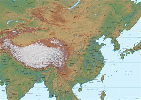 map physical physical map of china