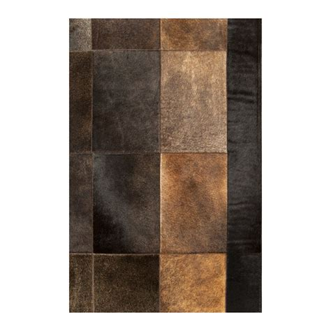 Patchwork Leather Rug - patchwork cowhide bronze leather carpet rug handmade by