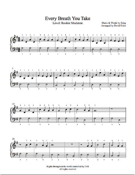 stay high testo every breath you take by the piano sheet