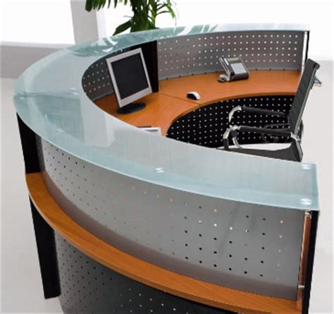 half reception desk half glass top reception desk