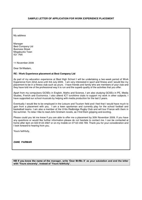 cover letter for work placement sle application letter for work experience cover