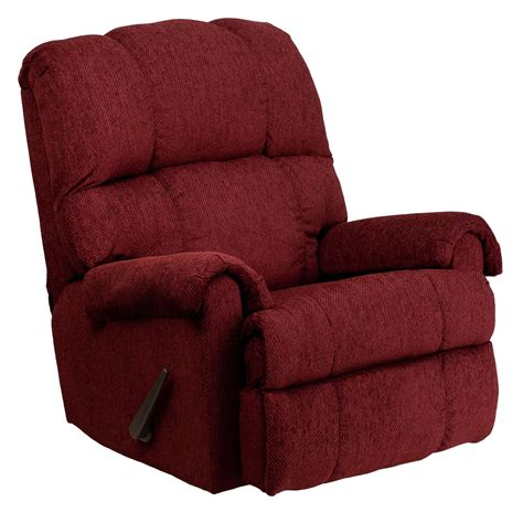 chenille recliner chair tahoe burgundy chenille rocker recliner from renegade wm