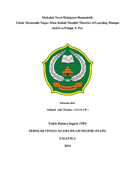 Theories Of Learning Teori Belajar makalah teori belajar humanistik