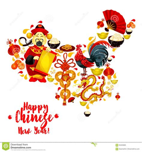 new year food symbol of prosperity map of china made up of new year symbols stock