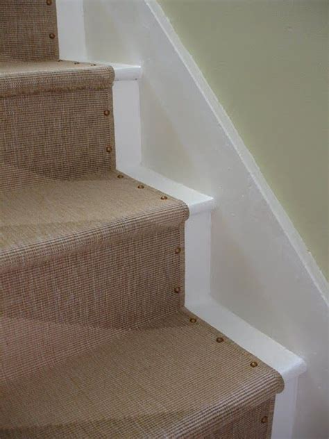 gorgeous diy upholstery nail stair runner made from