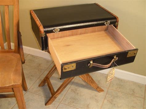 Suitcase Table by Suitcase Table With Drawer Vintage End Table Nightstand