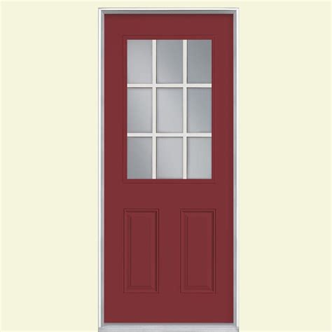 Masonite 32 In X 80 In 9 Lite Painted Steel Prehung Left 9 Lite Exterior Door