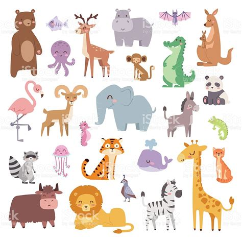 animali clipart zoo animals big set wildlife mammal flat vector
