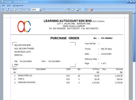 purchase order