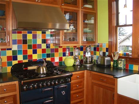 Green Glass Backsplashes For Kitchens pascale s colorful farmhouse kitchen in portland hooked