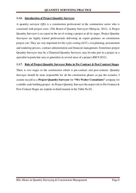 Appointment Letter For Quantity Surveyor Quantity Surveying Practise