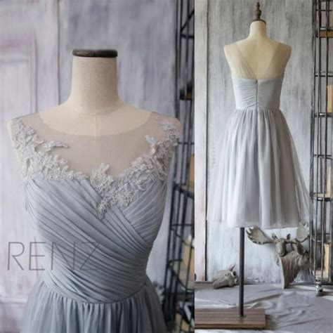 Xy61763 V Neck Chiffon Dress Gray 2015 chiffon bridesmaid dress grey cocktail dress