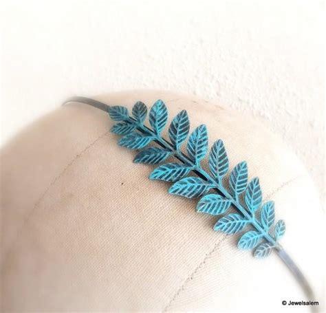 Leaf Hairband leaf hairband bridal headband turquoise leaf headpiece