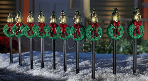 set of 10 christmas l posts holiday path lights