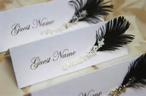 wedding place cards black white feather and glass or rhinestones decor lolly buffet